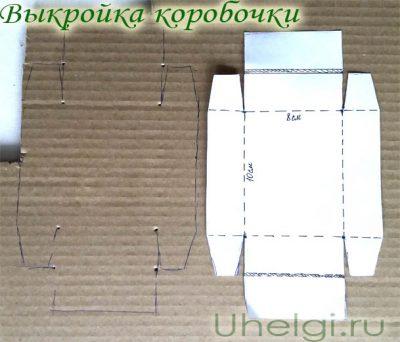 001 выкройка коробочки ручной работы на нофрокартоне