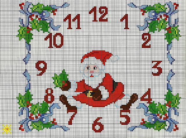 новогодние часы схема вышивки