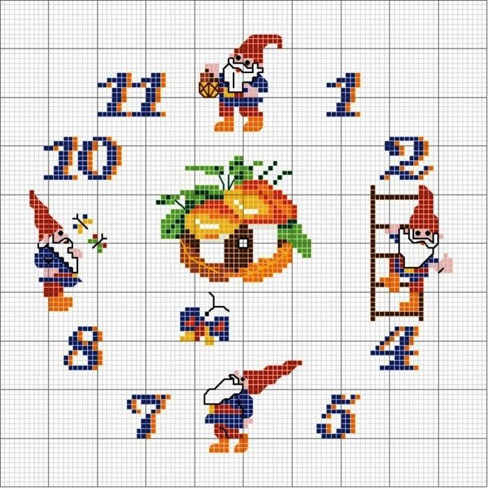 новогодние часы вышивка крестом схема