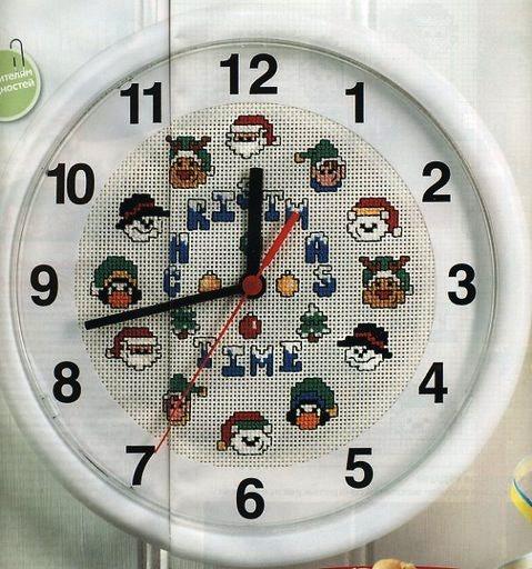 пример вышивки крестом часов