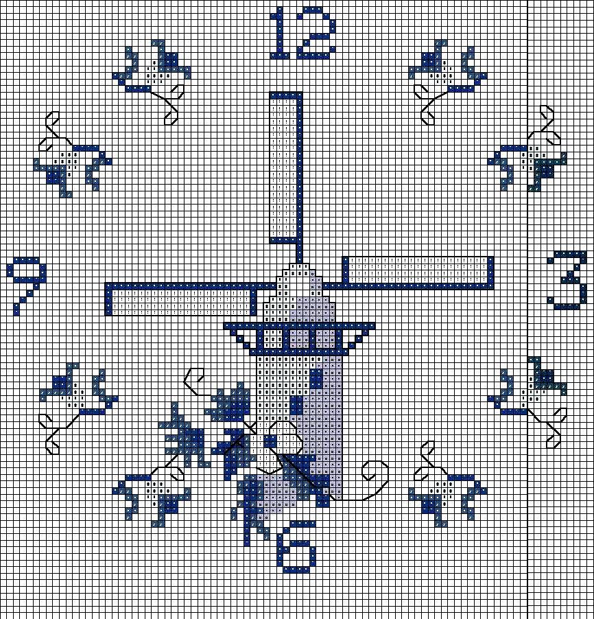 схема часы новогодние вышивка