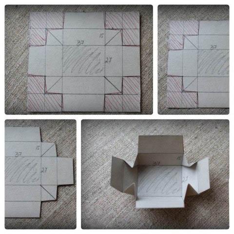 схема пример коробки ручной работы со сгибами