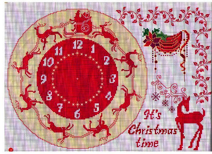 схема вышивки часы новогодние