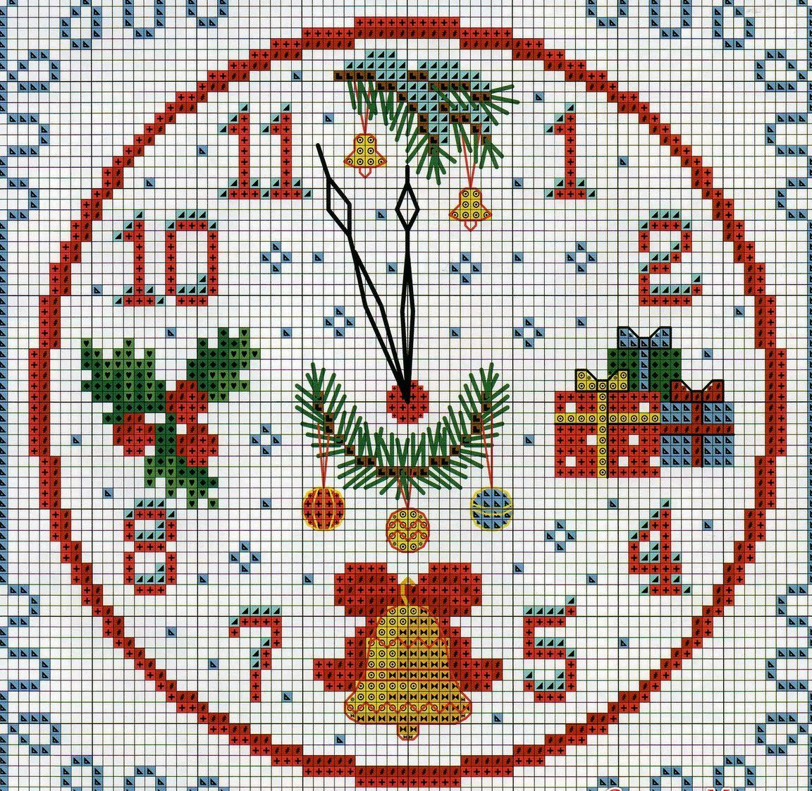 схема вышивки крестиком новогодние часы