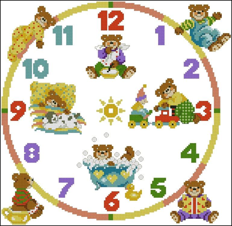 схема вышивки крестом часы