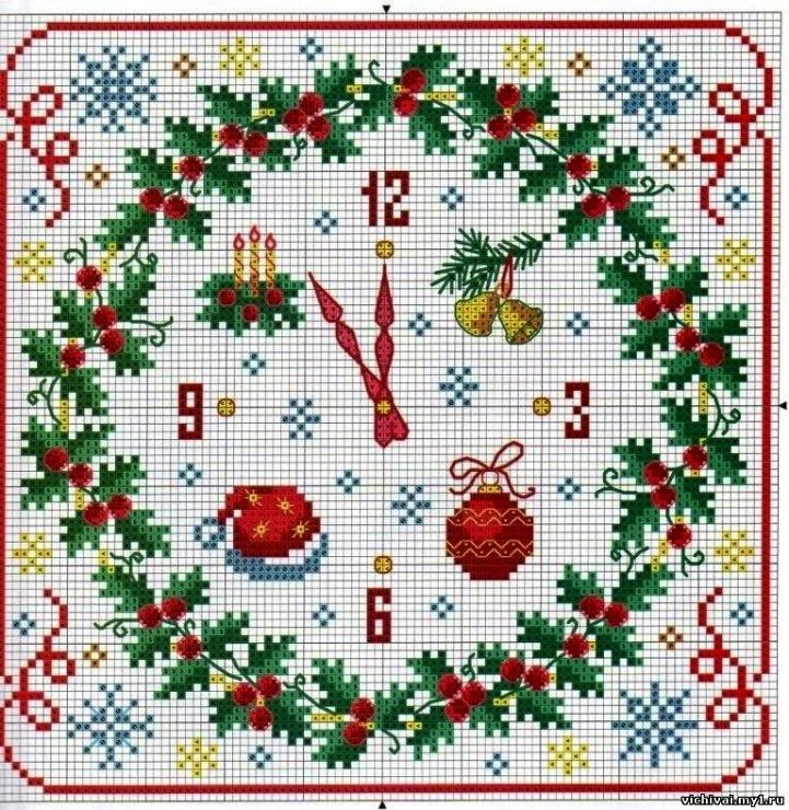 схема вышивки крестом новогодних часов