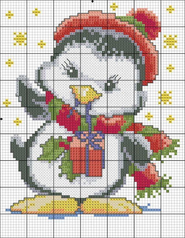Новогодние схемы вышивки крестом пингвин