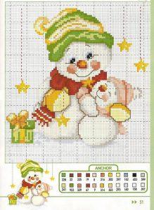 новогодняя вышивка крестом схемы снеговики