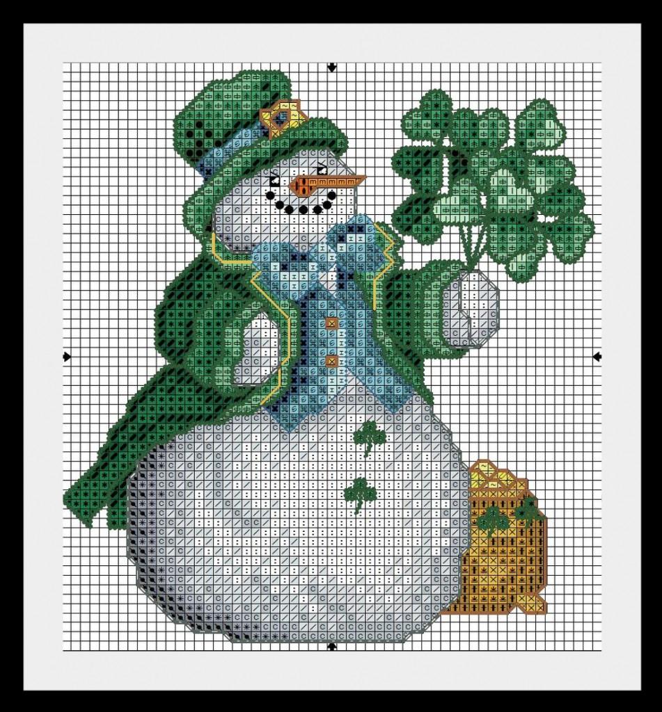 схеиа вышивки снеговик