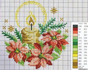 схема новогодней вышивки свеча и пуансеттия