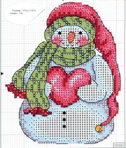 схема вышивки крестом новогодний снеговик