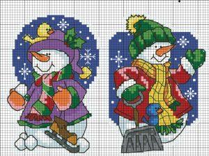 схема вышивки крестом снеговики новогодняя