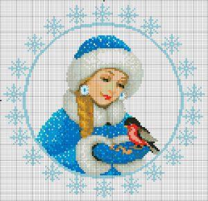 схема вышивки крестом снегурочка новогодняя