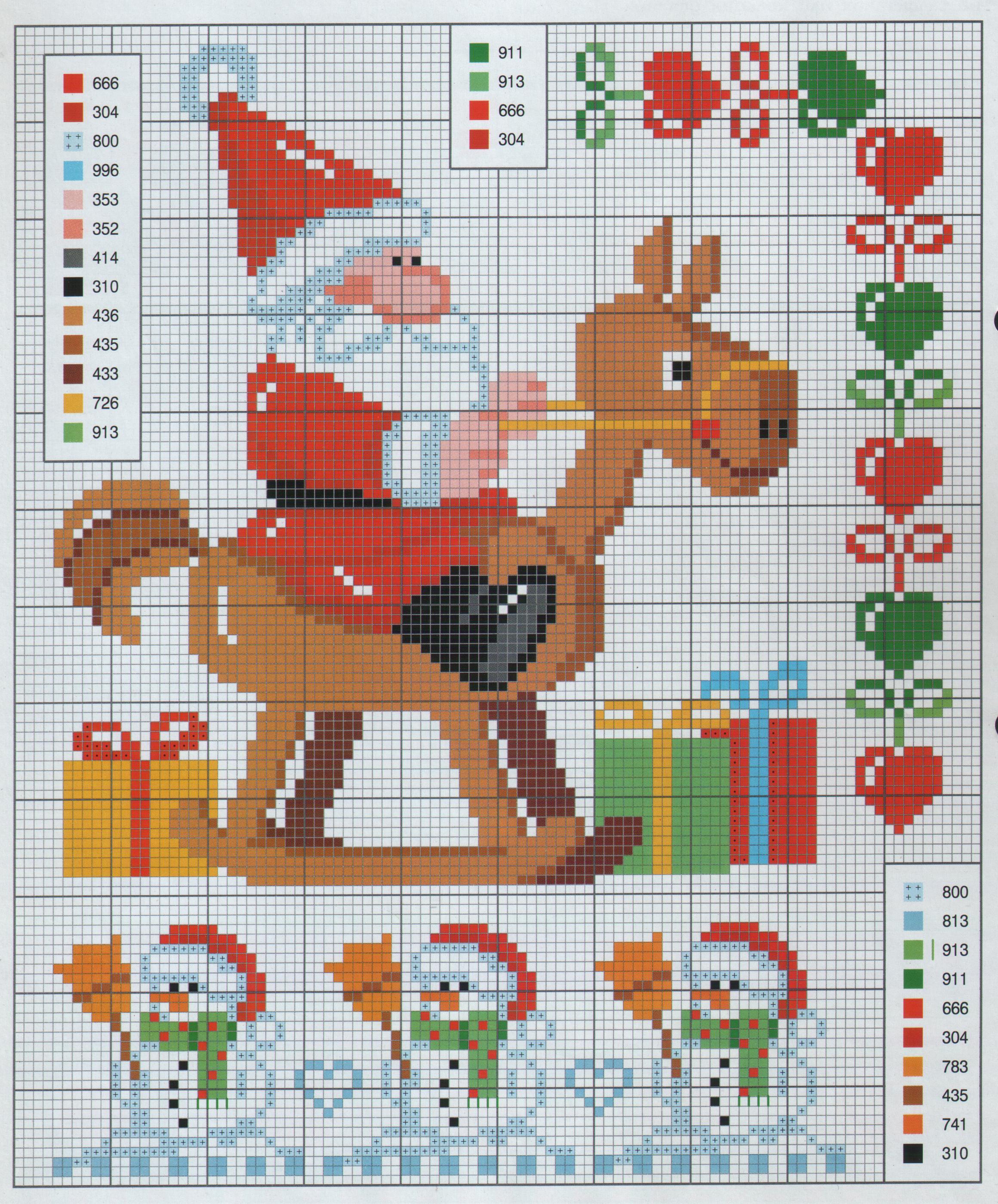 схема вышивки новогодней санта клаус на лошадке