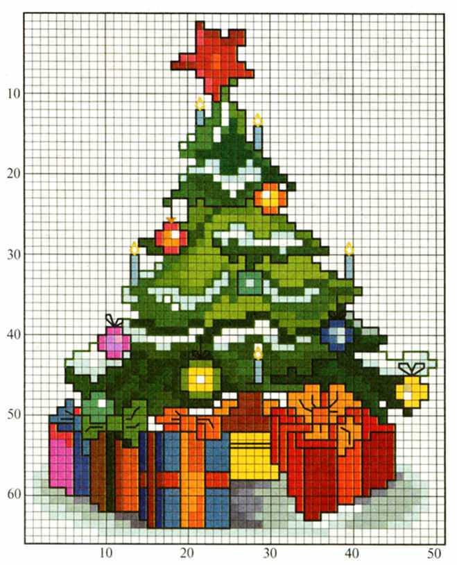 схема вышивки новогодняя елка