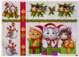 схема вышивки новогодняя подарки с котятами