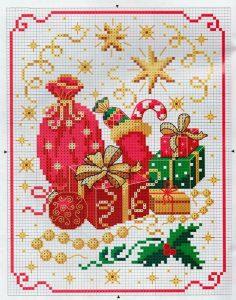 схема вышивки подарки новогодние