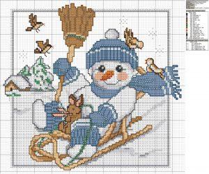 схема вышивки снеговик на санках крестом
