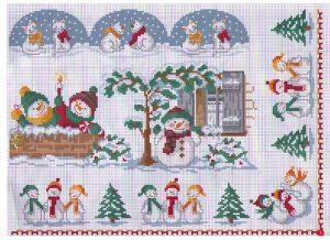 схемы вышивки крестом снеговички