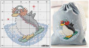 вышивка крестом новогодняя схема пингвин