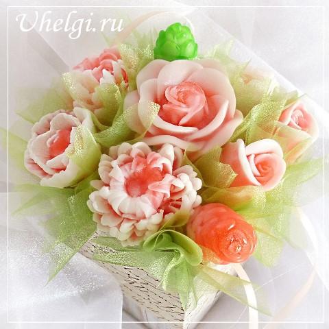 003 букет мыло розы и хризантемы