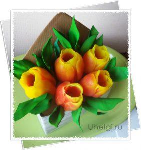 бУКЕТ ИЗ МЫЛА Тюльпаны в коробочке конверте