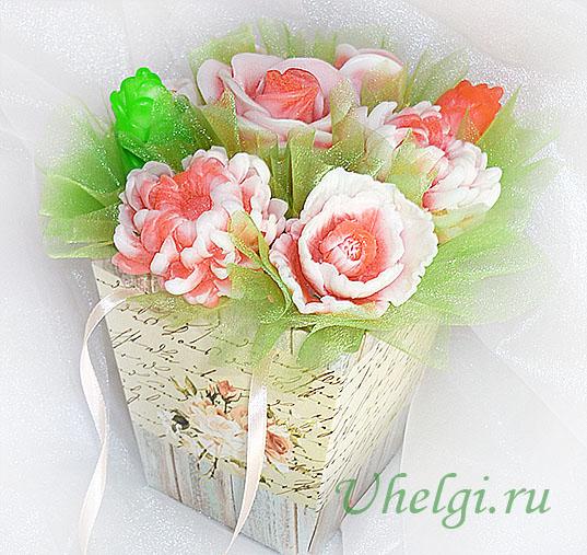 014 зелень из органзы букет из мыла